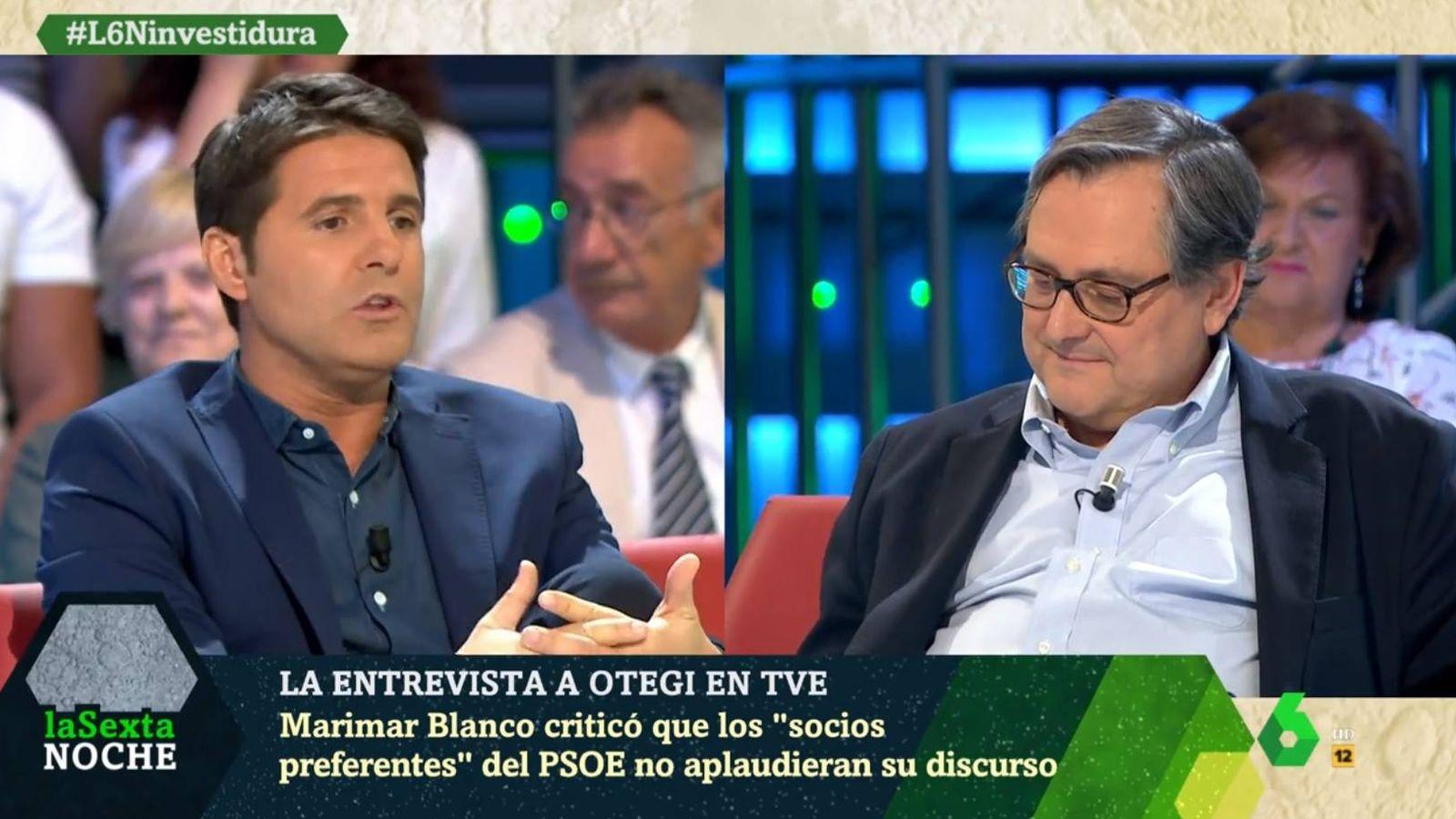 Foto: Jesús Cintora y Marhuenda, en 'La Sexta noche'. (Atresmedia).