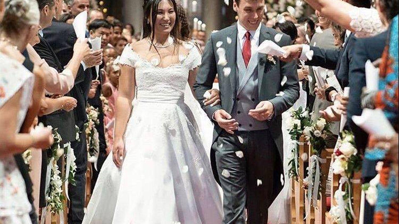 Louis y Marie, ya sin el ramo, recién casados. (Palacio de Mónaco)