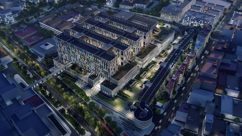 Recreación de cómo sería el gran centro sanitario de Málaga. (Junta de Andalucía)