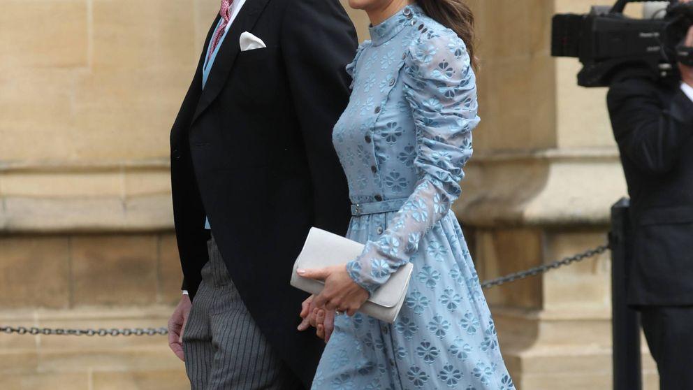 Pippa Middleton, muy elegante de azul en la boda de su exnovio con Lady Gabriella