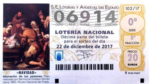 El número 06.914 se lleva el tercer premio de la Lotería de Navidad: 50.000 euros