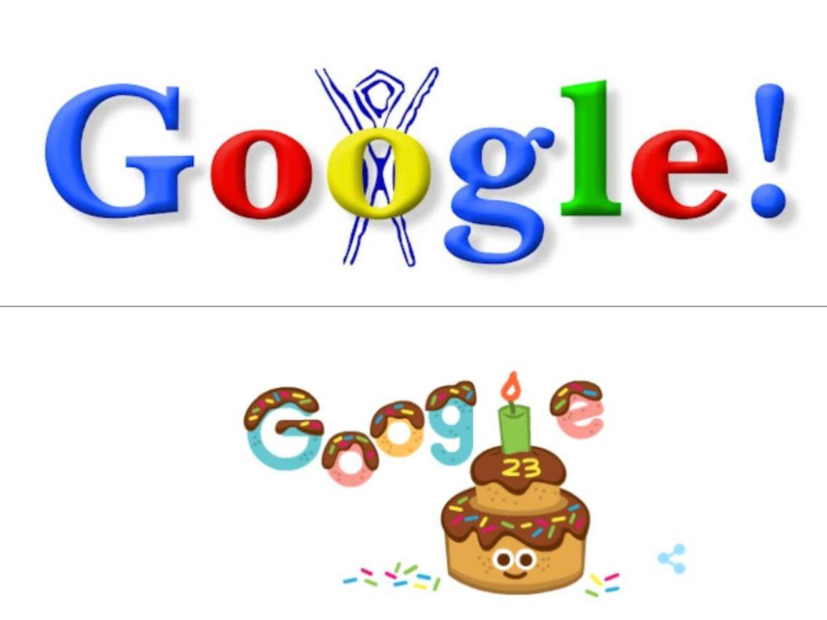 Foto: El primer 'doodle' de Google frente al último