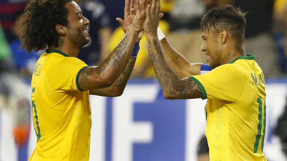 Foto: Marcelo y Neymar durante un partido con Brasil. (Winslow Townson/USA TODAY Sports)