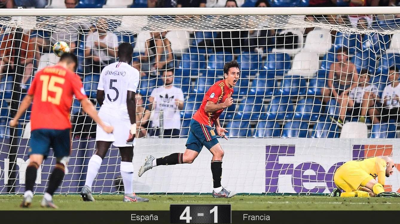 Foto: Mikel Oyarzabal marcó de penalti el segundo gol de España ante Francia. (Sefutbol)