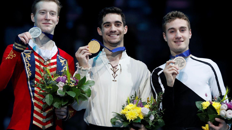 El podio del Campeonato de Europa de Minsk (Bielorrusia) con Samarin (i), Fernández (c) y Rizzo. (Reuters).