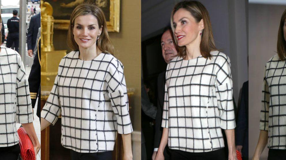 Doña Letizia juega al juego de las 7 diferencias con su 'misterioso' jersey