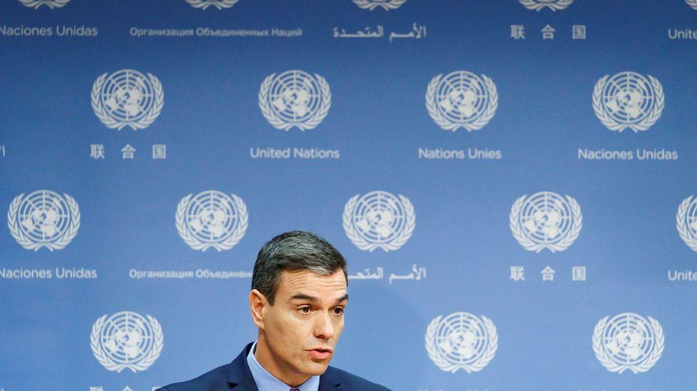 Foto: El presidente del Gobierno en funciones, Pedro Sánchez, en la sede de la ONU. (Reuters)