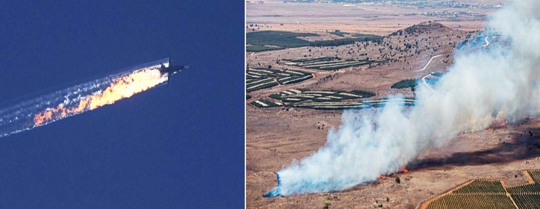 Foto: Un montaje muestra el avión ruso derribado por cazas turcos y el lugar donde se estrelló el aparato.