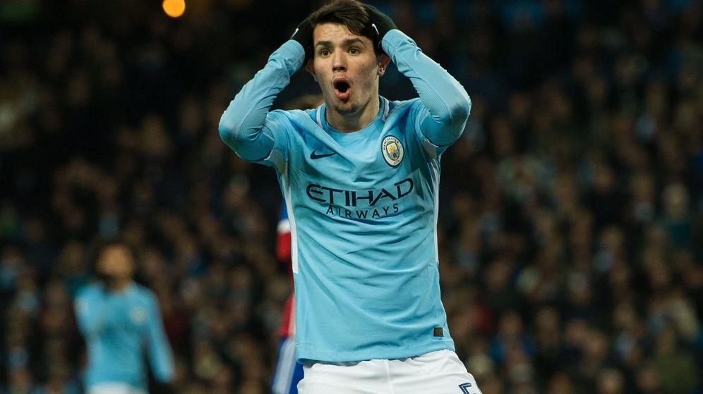 Foto: El malagueño Brahim Díaz durante un partido con el Manchester City. (Efe)
