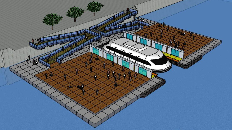 Diseño de una de las estaciones de Metrorío (sin cubrir).