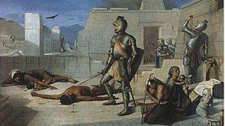 Episodios de la Conquista: La matanza de Cholula (óleo sobre tela)