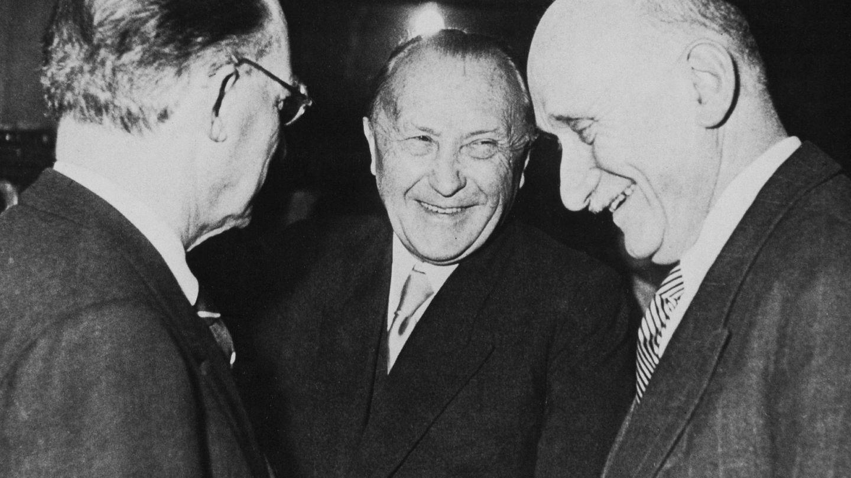 Alcide de Gasperi, Robert Schuman y Konrad Adenauer en 1951 (Parlamento Europeo)