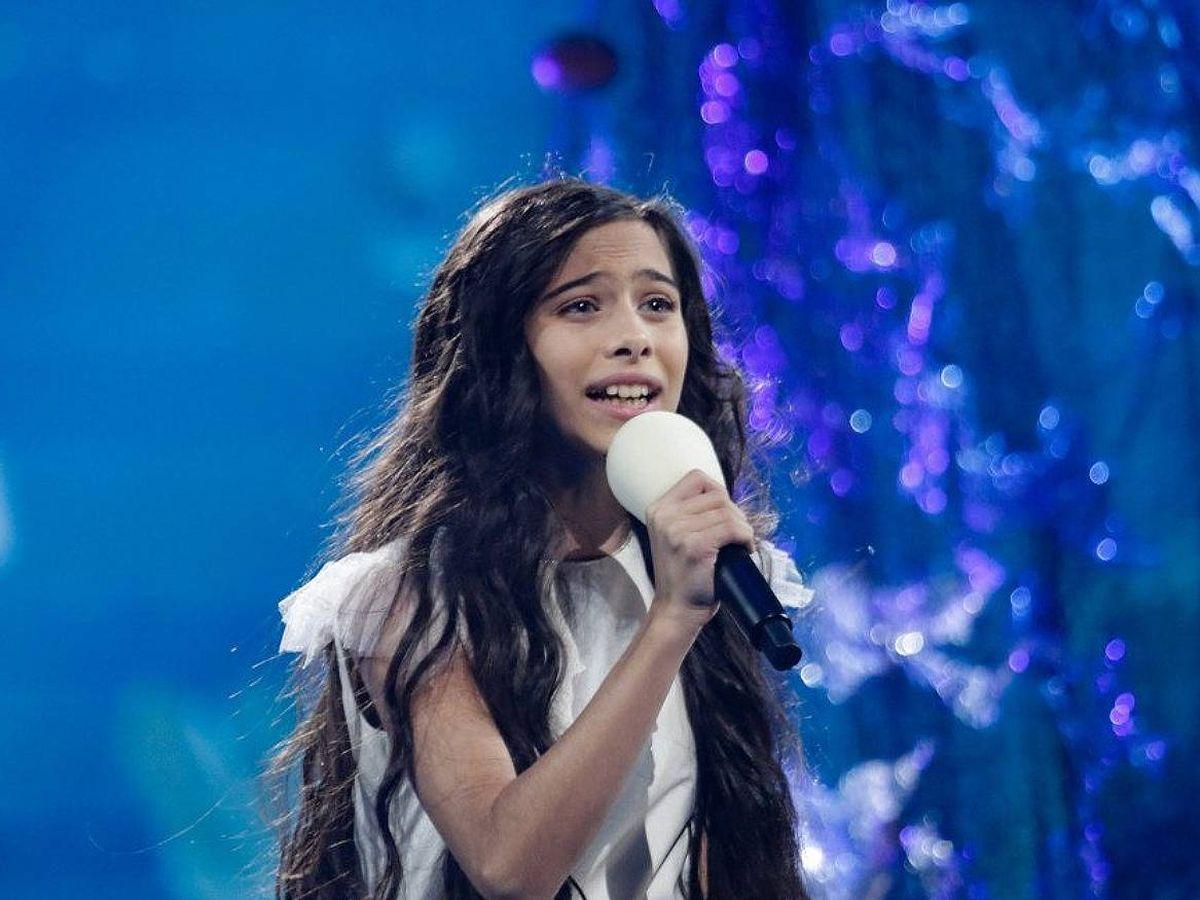 Foto: Melani García canta 'Marte' en el ensayo de 'Eurojunior 2019'. (Twitter)