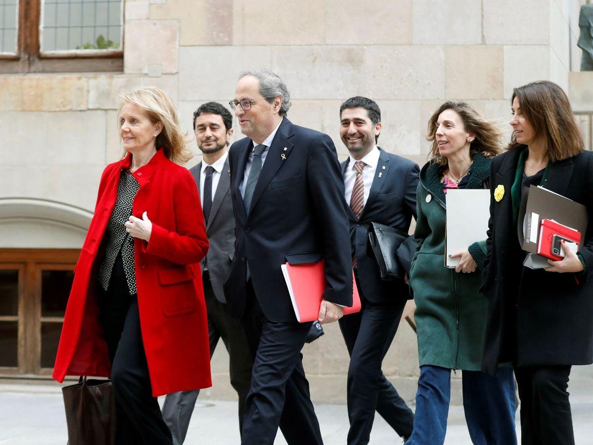 Foto: El presidente Quim Torra y los consejeros de la Generalitat de Cataluña son los altos cargos autonómicos con los sueldos más elevados. (EFE)