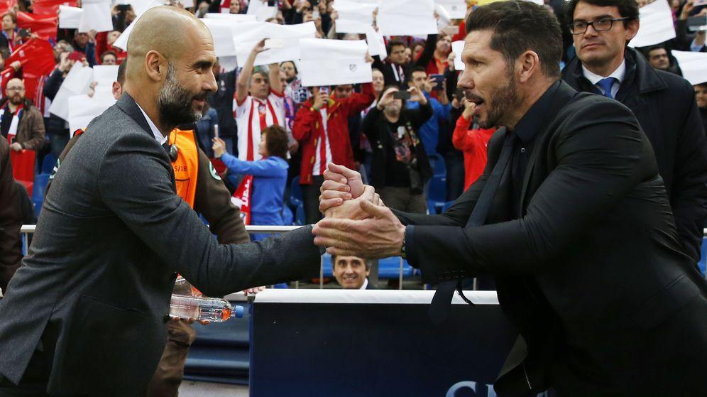 Foto: Guardiola y Simeone en un Atleti-Bayern de 2016. (Reuters)