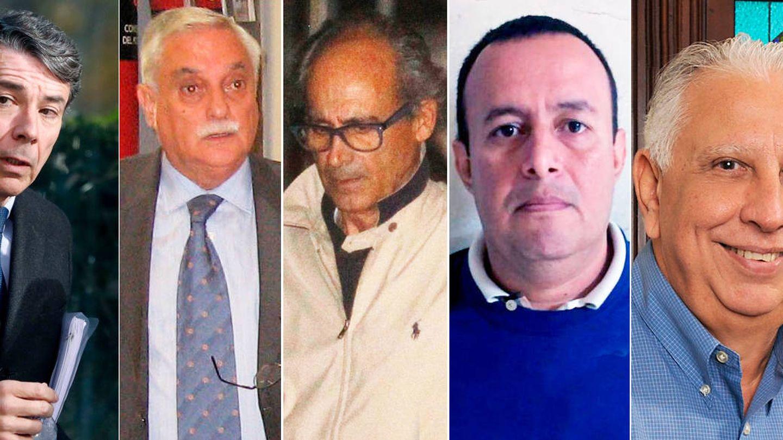 Ignacio González, Luis Vicente Moro, Edmundo Rodríguez, Diego Arias y Ramón Navarro, los cinco exdirectivos del Canal acusados de llevarse comisiones tras la compra de Emissao.