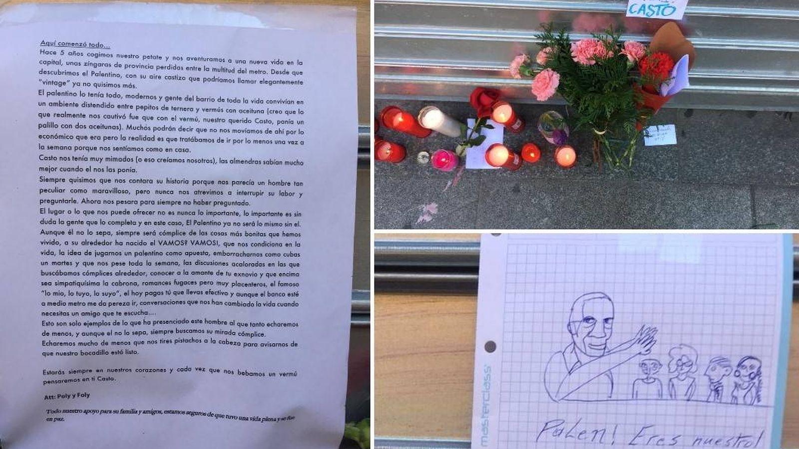 Foto: En la persiana de El Palentino pueden verse dibujos, flores, mensajes o velas como homenaje a Casto.