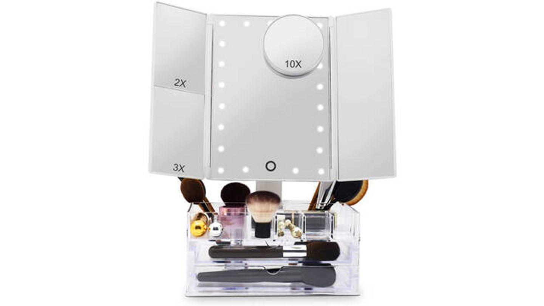 Organizador de maquillaje Fascinate con espejo y luces