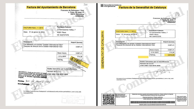 Foto: Facturas duplicadas del Ayuntamiento de Barcelona y la Generalitat de Catalunya.