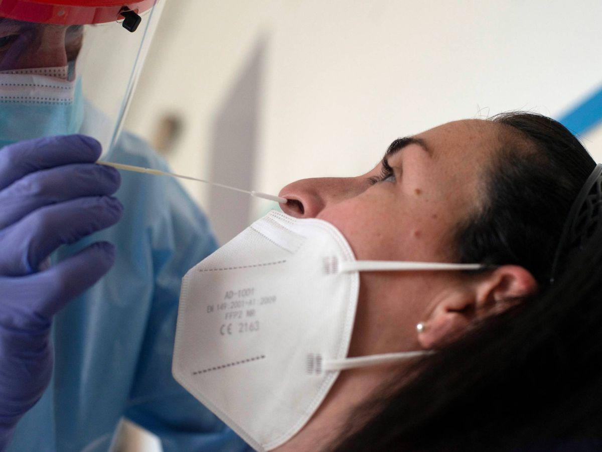 Foto: Un trabajador sanitario realiza una prueba PCR. (EFE)