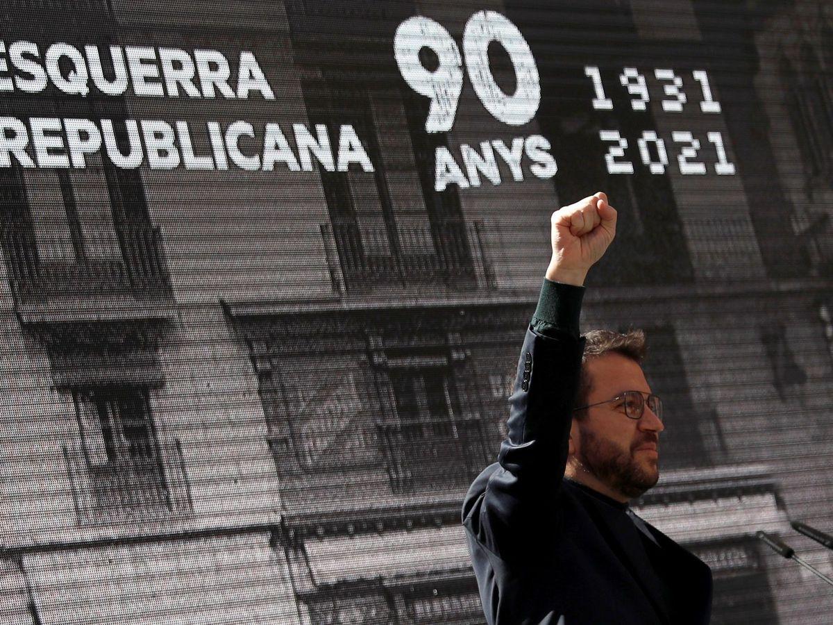 Foto:  Pere Aragonès, durante su intervención en el acto de celebración del 90 aniversario de la fundación del partido. (EFE)