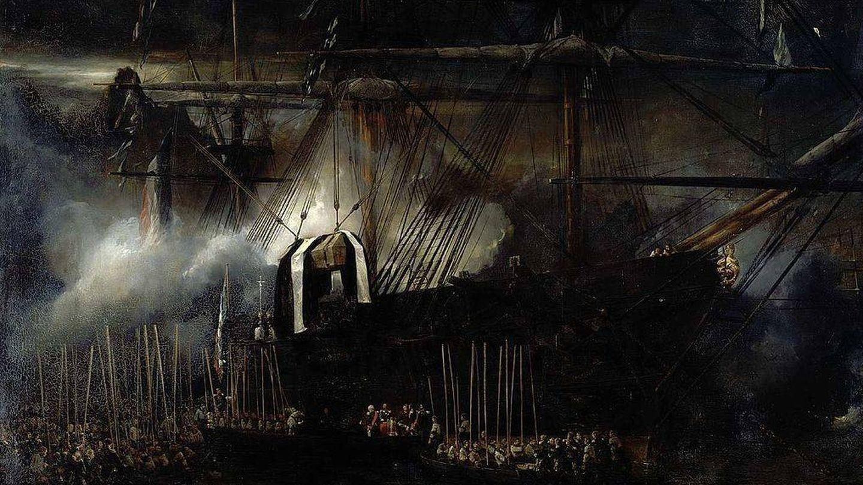 'Repatriación de las cenizas de Napoleón a bordo de la Belle Poule', por Eugène Isabey