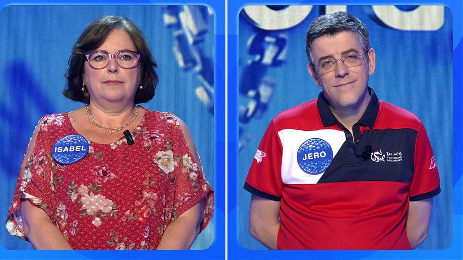 Foto: Isabel y Jero, en la prueba de 'La silla azul'. (Mediaset)
