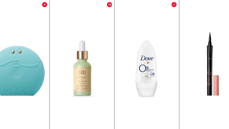 Dispositivo electrónico, sérum, desodorante y eyeliner.