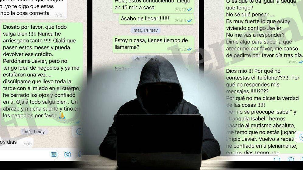 Foto:  Mensajes de WhatsApp enviados por uno de los estafados. (Montaje: EC)