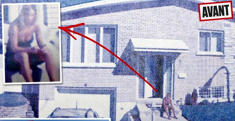 Foto: En la foto puede apreciarse el escote de María Pía Grillo, en el antes y el después de ser pixelada (Street View)
