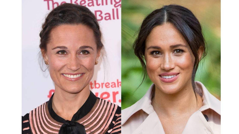 Base de maquillaje mucho más ligera y rubor acoralado. Las coincidencias de maquillaje entre Pippa Middleton y Meghan Markle. (Getty /Cordon Press)