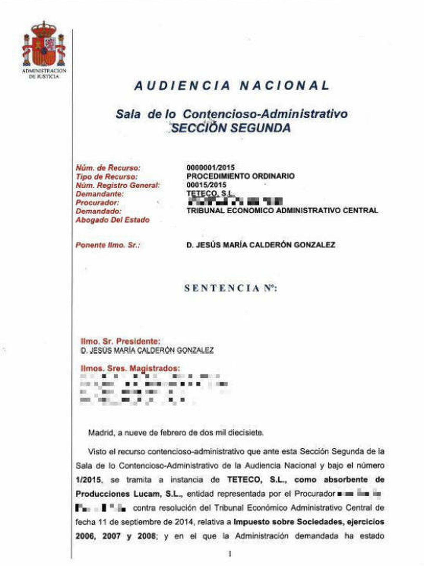 Sentencia de la Audiencia Nacional.
