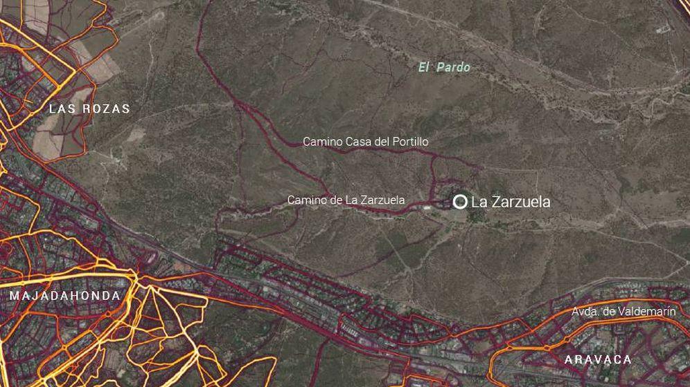 Foto: Mapa de la Zarzuela con las rutas publicadas por Strava (Unidad de Datos)