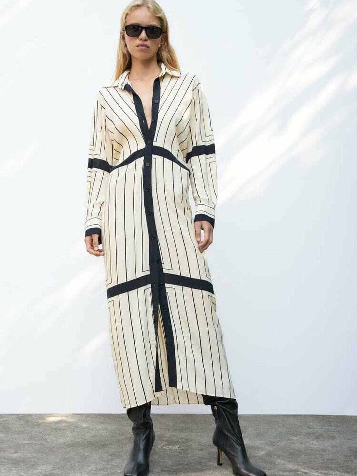 El vestido camisero de Zara. (Cortesía)