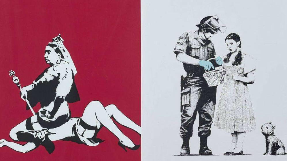 Foto: 'Queen Vic' y 'Stop and Search', de Banksy. Foto: Artcurial