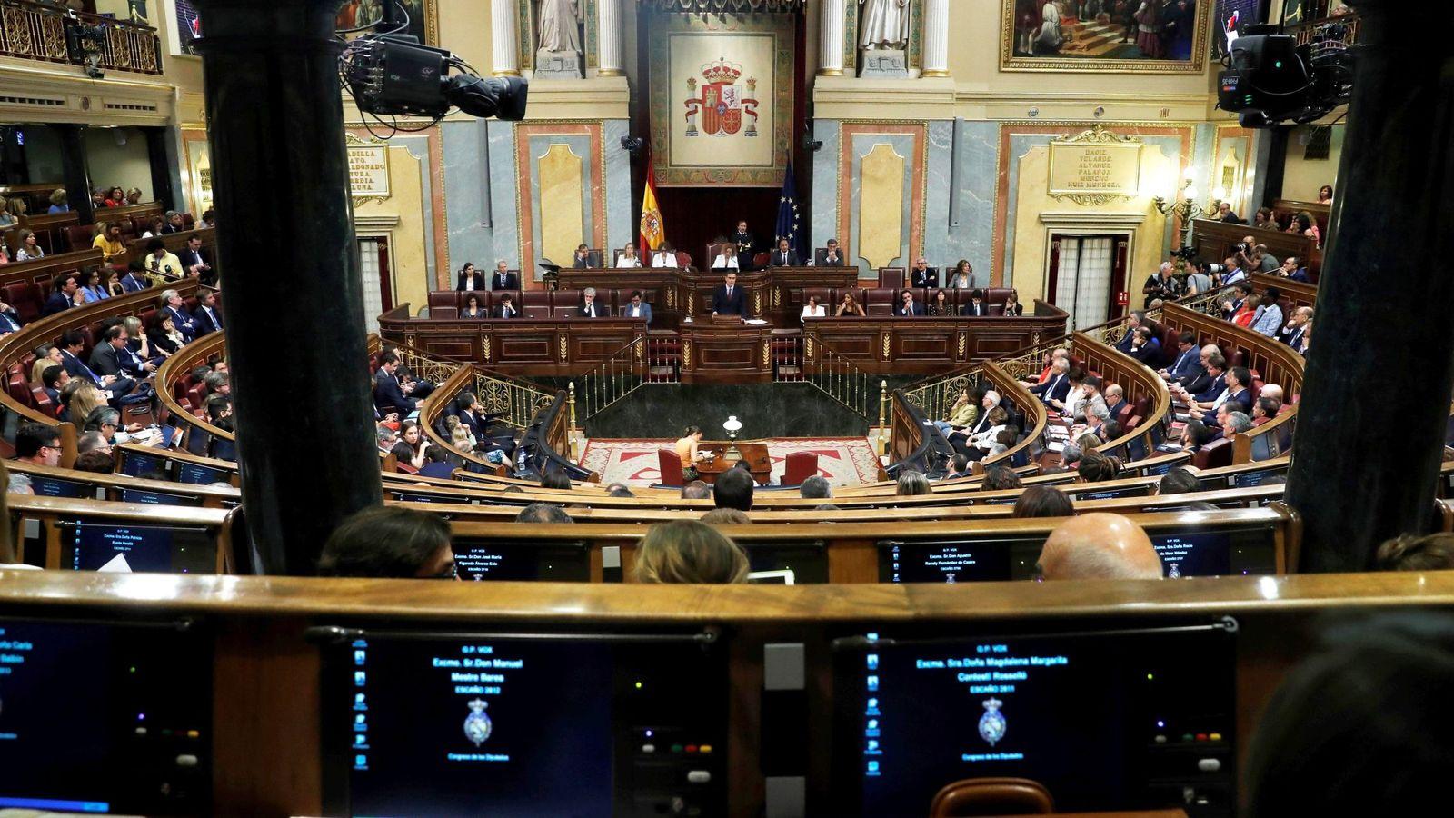 Foto: Pedro Sánchez, durante su discurso de investidura, este 22 de julio en el Congreso. (EFE)