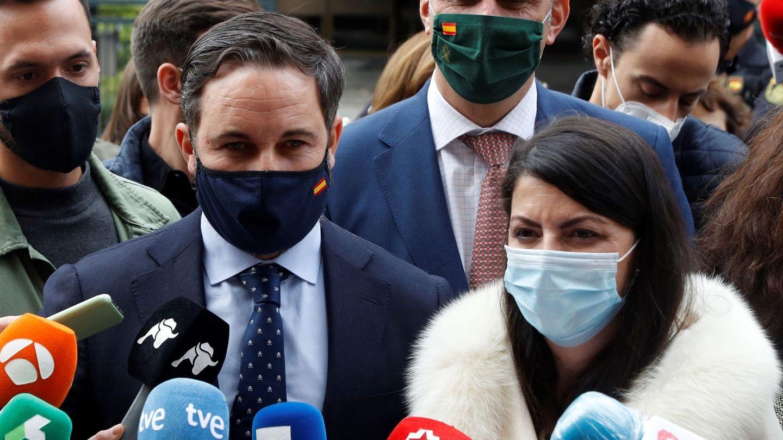 Santiago Abascal y otros dirigentes de Vox, este viernes en Madrid