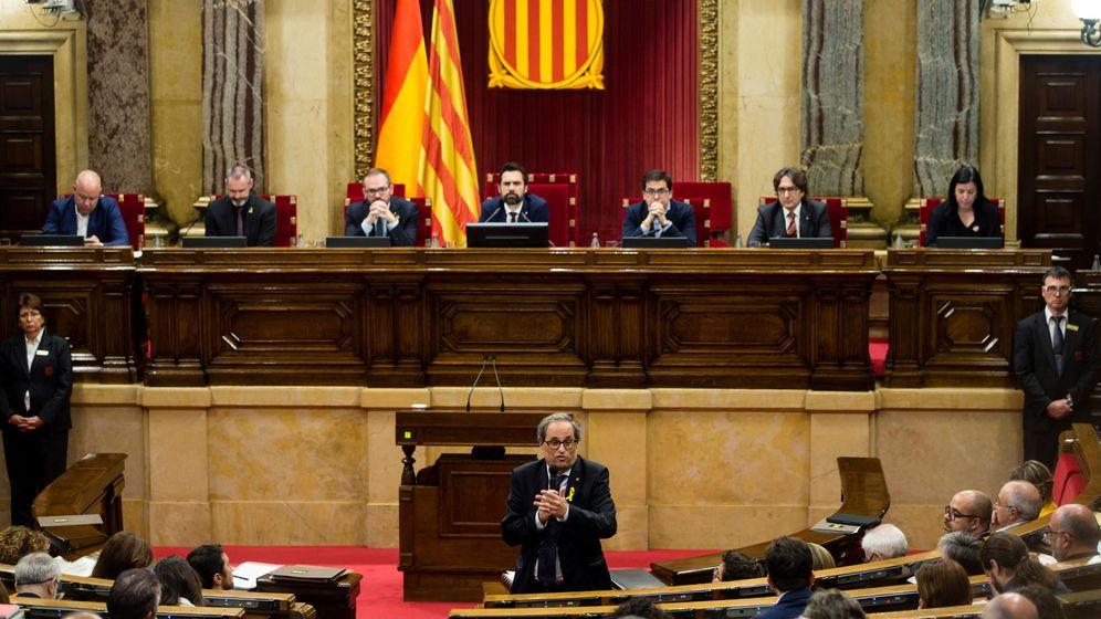 Foto: El presidente de la Generalitat, Quim Torra, en una sesión de control en el Parlament. (EFE)