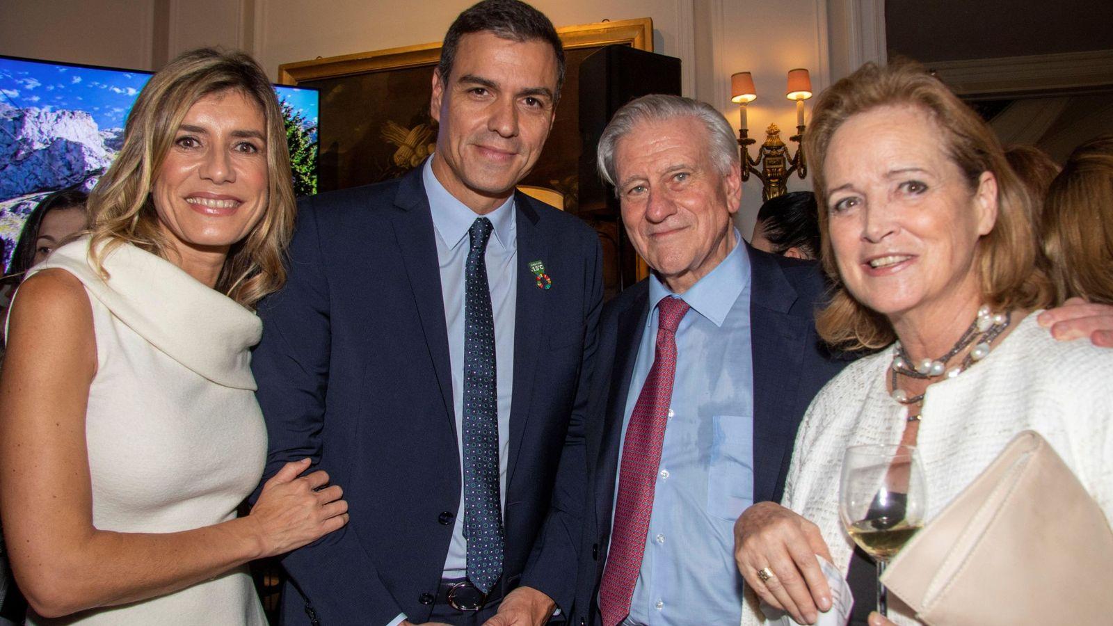 Foto: Begoña Gómez, Pedro Sánchez, Valentín Fuster y su esposa, Mari Ángels Guals, esta semana en Nueva York. (EFE)