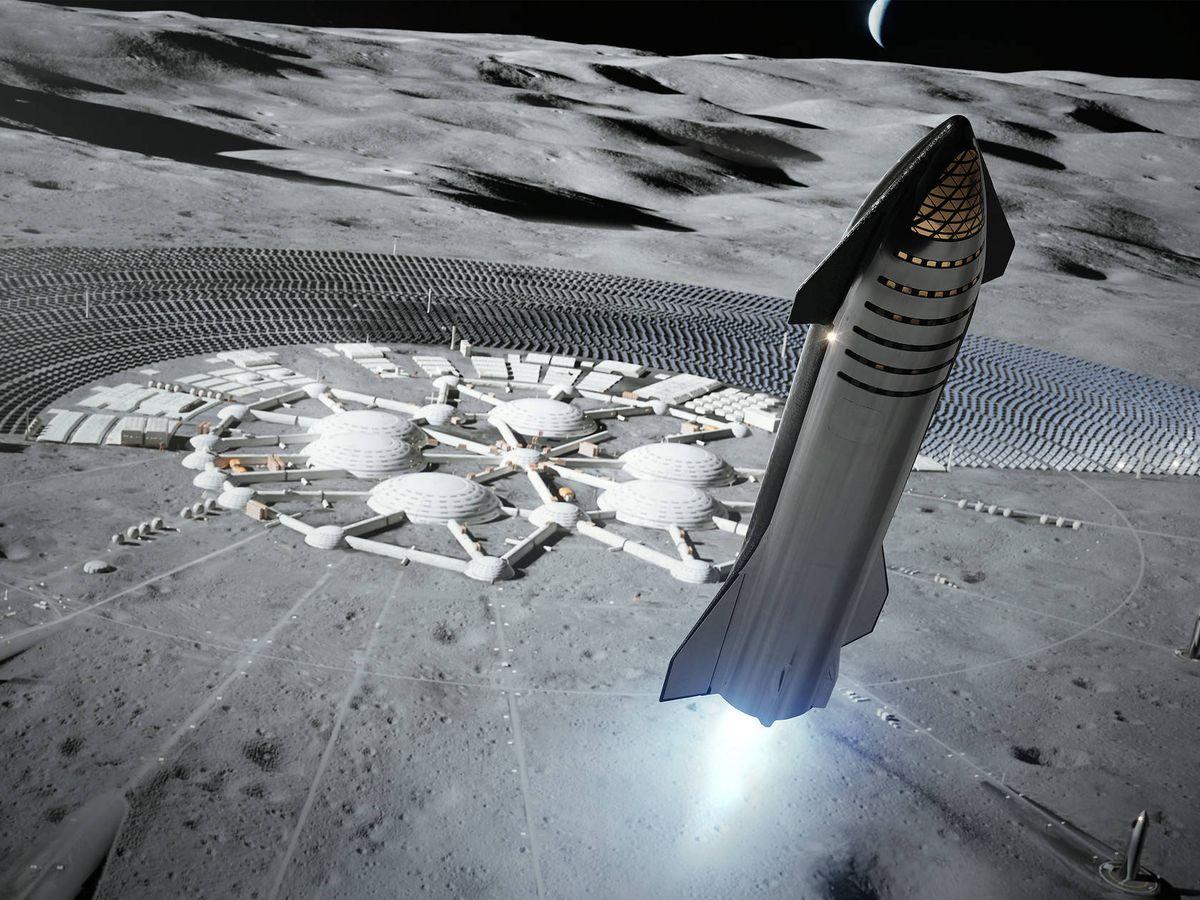 Foto: Recreación del aterrizaje de Starship en la Luna. Foto: Space X