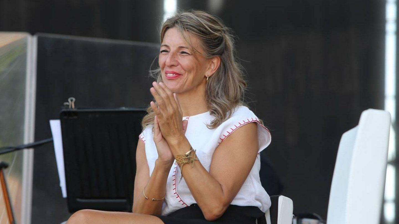 La vicepresidenta Yolanda Díaz en la fiesta del PCE. (Twitter)
