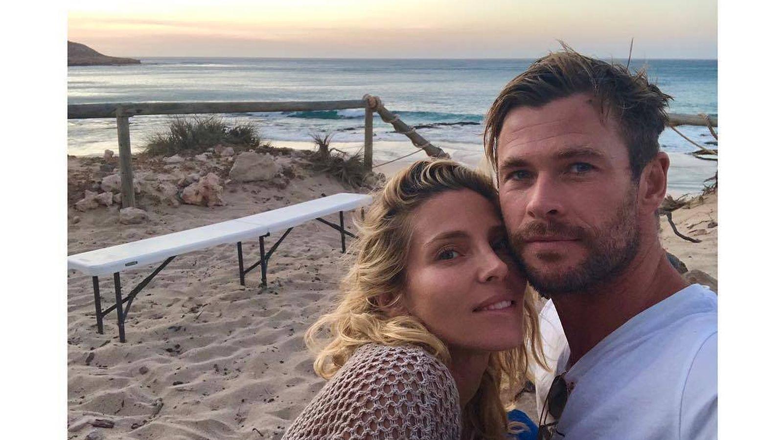 Foto: Elsa Pataky y Chris Hemsworth, en una imagen de Instagram.