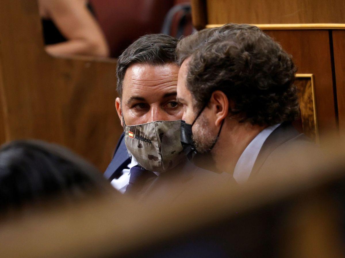 Foto: Abascal (i), junto a Espinosa de los Monteros (d), en el Congreso. (EFE)