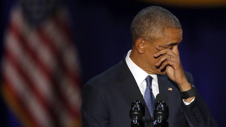 Foto: Obama, emocionado durante su discurso de despedida de la Casa Blanca (Gtres)