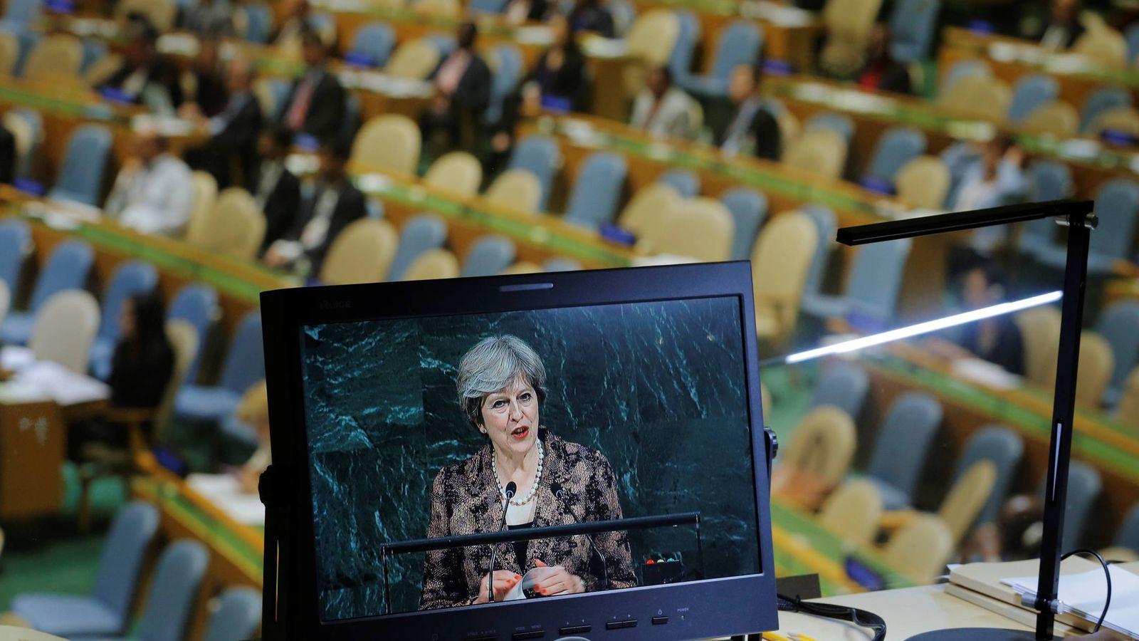 Foto: La primera ministra británica Theresa May durante su intervención ante la Asamblea General de Naciones Unidas, en Nueva York. (Reuters)