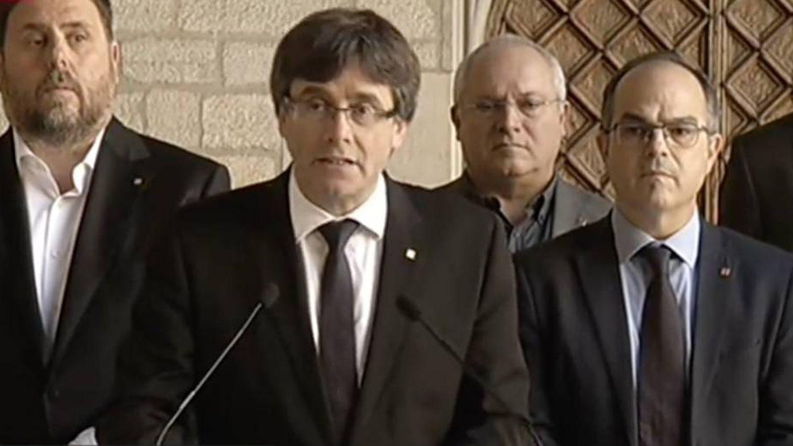 Foto: Carles Puigdemont, durante su declaración de este miércoles.