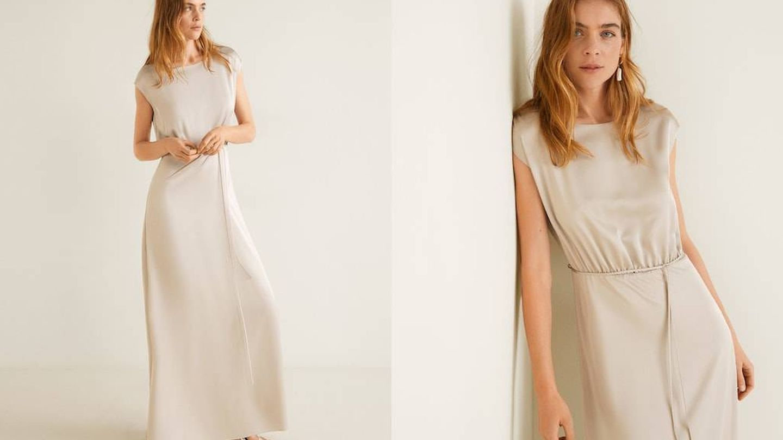 Entre sus vestidos de invitada, Mango oculta joyas como esta para novias por 79,99 €. (Cortesía)