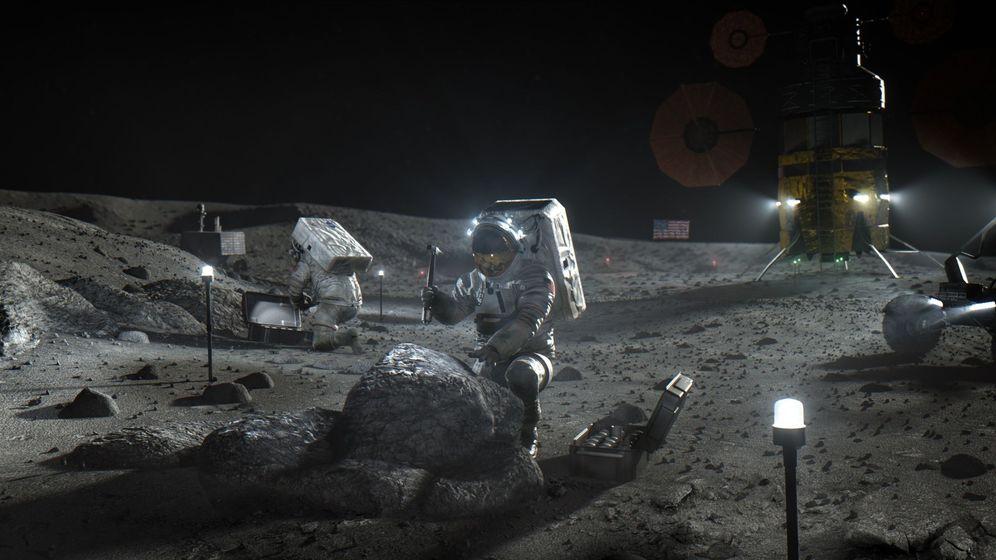 Foto:  Ilustración cedida por la NASA donde aparecen unos astronautas de Artemis mientras trabajan en la Luna. Foto: EFE NASA
