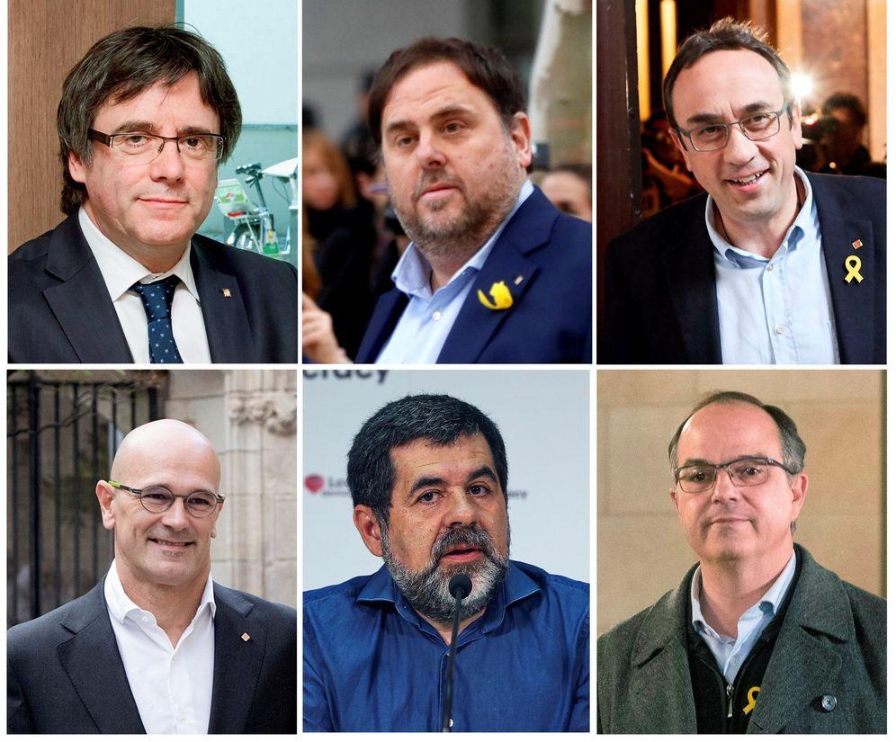 Foto: Carles Puigdemont y los cinco diputados catalanes en prisión; Oriol Junqueras, Josep Rull, Raül Romeva, Jordi Sànchez y Jordi Turull. (EFE)