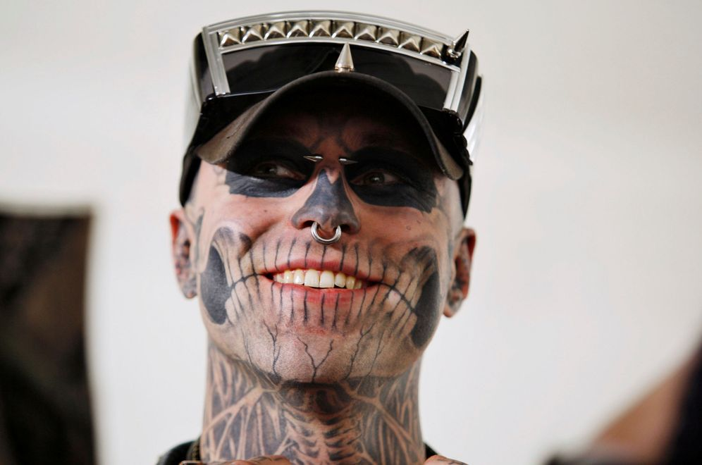 Foto: Rick Genest, 'Zombie Boy', durante la NYFW de 2012